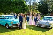 whole bridal party with the cars