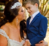 Bride with her youngest son, Gold Coast, Boomerang Farm