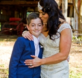 Yasmin with her other son at Boomerang Farm.