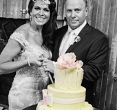 Yasmin and Wayne cut the cake at their reception at Boomerang Farm, Gold coast