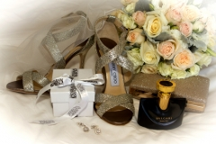 brides shoes, flowers, jewellery