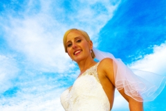 Bride with sky in background