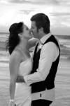 Carla and Bernie kissing on fingal beach-black and white