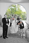 Danielles dad accompanies her into the chapel - photo a mix of colour and black and white