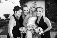 Danielle and the 3 brides maids in black and white