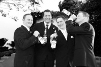 Chris and the boys enjoy a drink in black and white