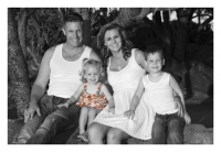 FAMILY PORTRAITS GOLD COAST-family of four, black and white photo with the little girl in colour