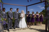 The whole wedding party during the ceremony