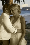 Kelly and Jason by the pandanas-sepia and colour shot with more of Burleigh Beach