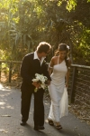 bride and groom walking path at Burleigh