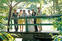 The wedding party on a bridge at the Coolabah Downs venue-Nerang