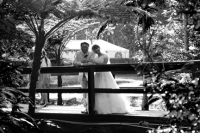 Bride and groom on  rustic bridge