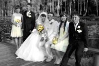 Bridal party black and white with splashes of colour