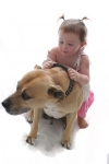 toddler with her dog,