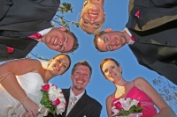 Bridal party taken from the ground