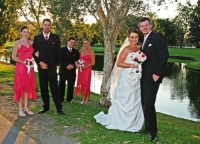 The bridal party by the lake