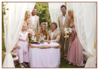 the wedding party at the signing of certificate