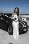 Sharna arriving at Currumbin Beach in her mini minor for AFFORDABLE WEDDING PHOTOGRAPHY GOLD COAST