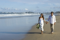Bride and Groom on beach-Currumbin