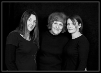 Mother and daughters-black and white photo-black backdrop