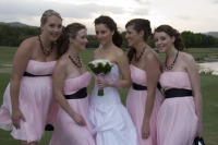 Tahlia with just the brides maids, pretty in pink