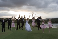 The whole bridal party jumping like on the Toyota add