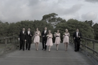 wedding party on the bridge at The Glades