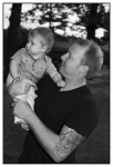 Dad and his little man-black and white photo
