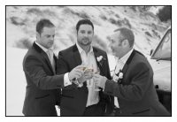 The boys toasting with a champagne