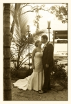sepia photo of the couple kissing