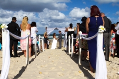 whole wedding with guests from the land side of beach