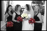 bride and bridesmaids, black and white photo flowers in colour