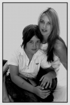 black and white of mother and son