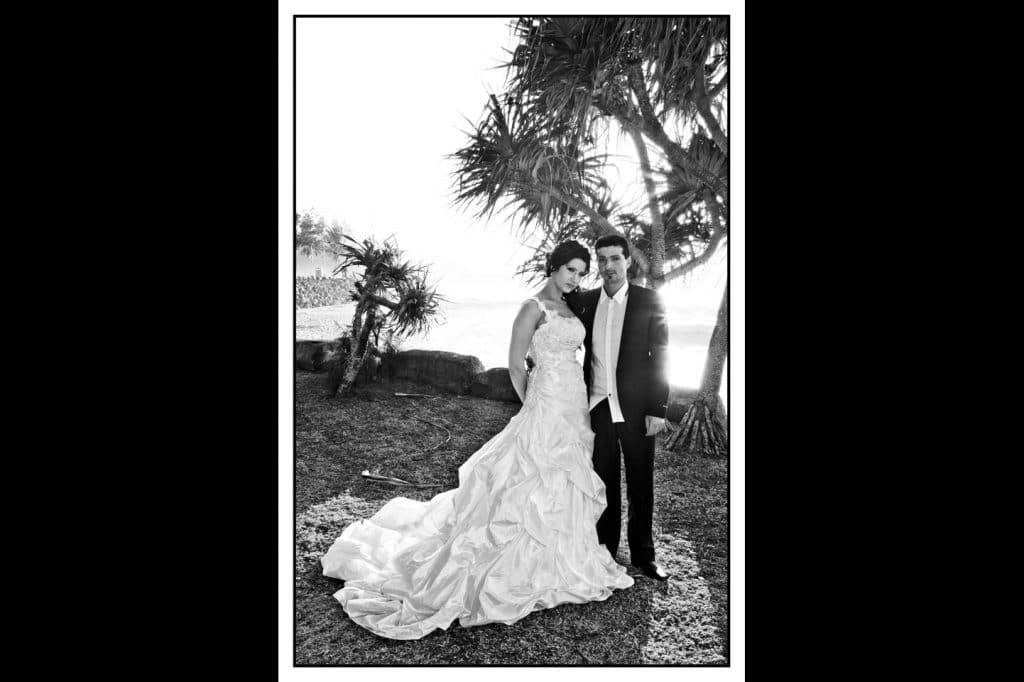 black and white photo, sydney couple on Gold Coast for photos in their wedding clothes