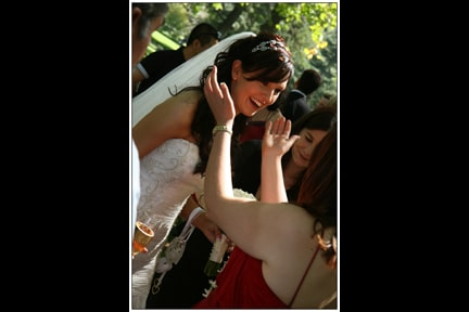 Claire being congratulated at her Melbourne park wedding