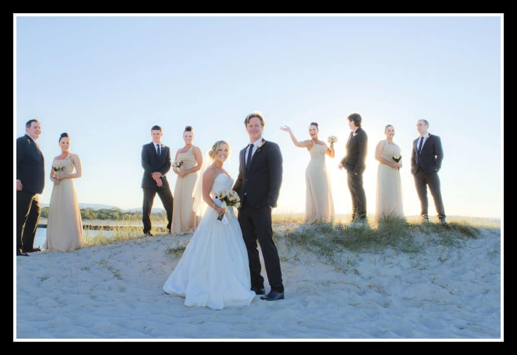 wedding party of ten, on a sand dune at The Alley