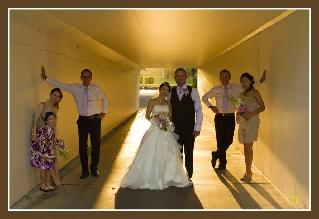 bridal party in a tunnel at Golf course
