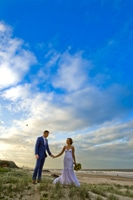 beautiful sunset wedding photo