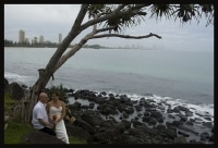 Canadian couple, landscape photo with surfers in background, framed by a pandanas tree