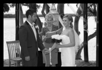 AFFORDABLE WEDDING PHOTOGRAPHY GOLD COAST-black and white photo of wedding ceremony on Stradbroke Island