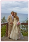 AFFORDABLE WEDDING PHOTOGRAPHY GOLD COAST-lovely soft photo of bridal couple at lookout-Greenmount Hill.