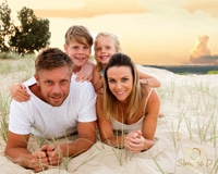 Family Portrait photos- family of four at Currumbin Beach