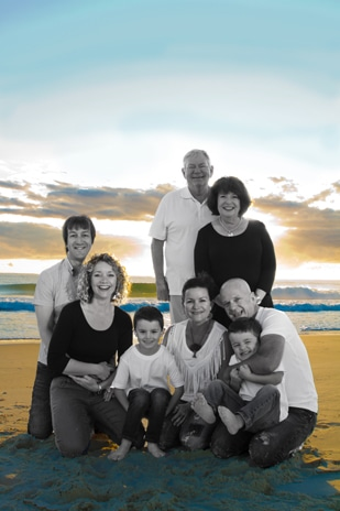 family of 8 portrait colour and black and white photo