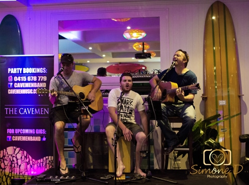 The Cavemen on stage at Coolangatta Sands Hotel