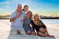 Gold Coast Wedding Photography-Family of four on Currumbin Beach at Sunset