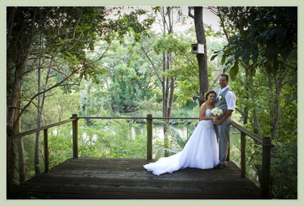 wedding couple on a deck in the aussie bush by a river